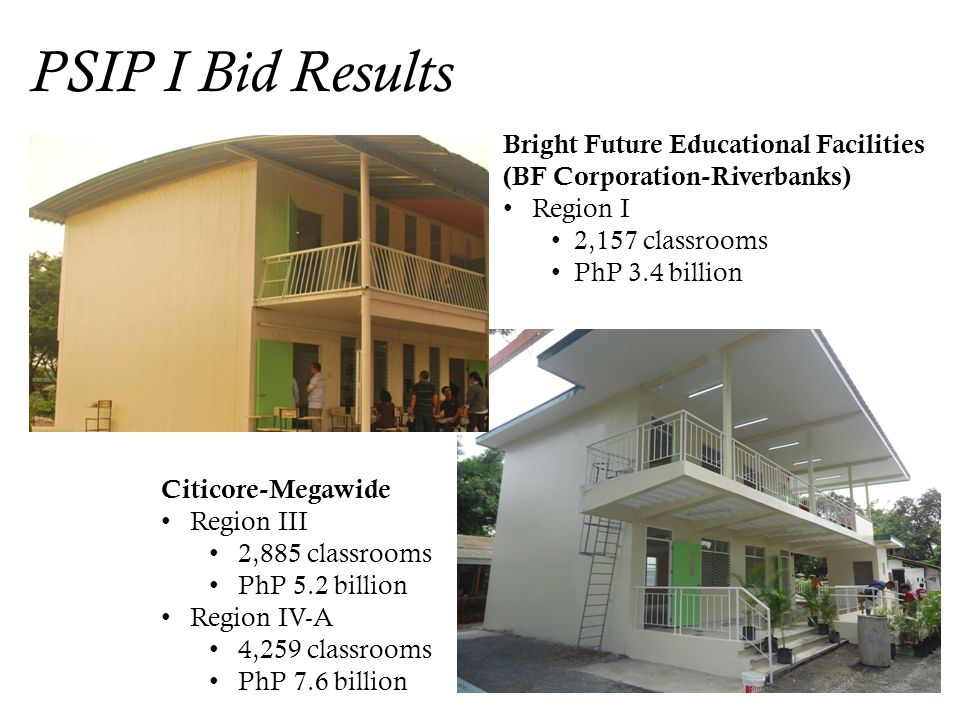 PSIP I Bid Results Bright Future Educational Facilities