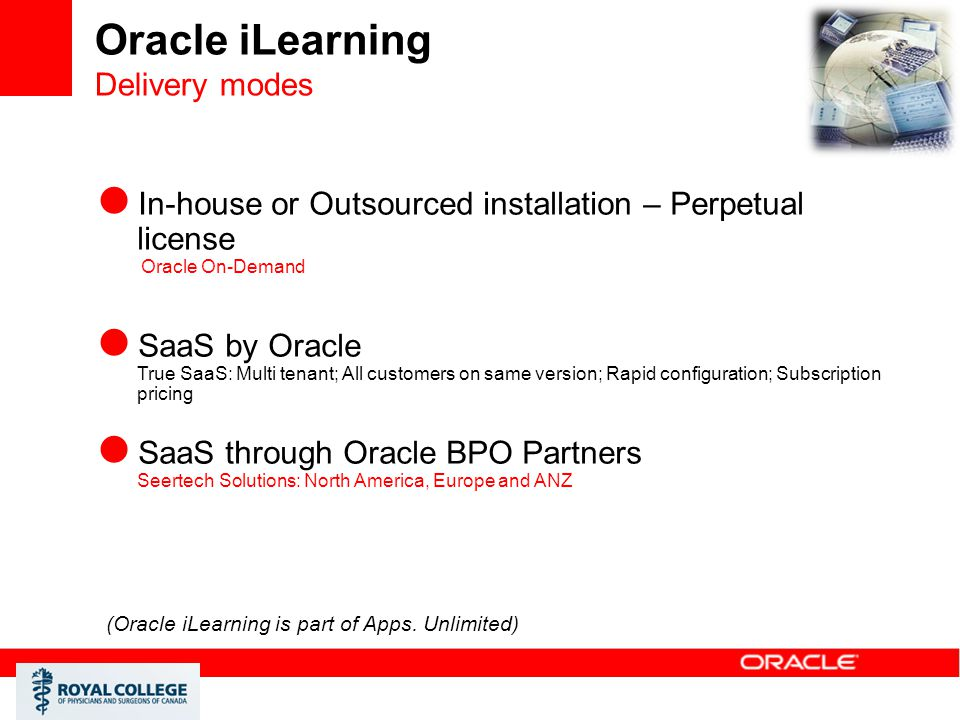 Oracle iLearning Delivery modes