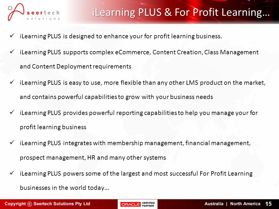iLearning PLUS & For Profit Learning…