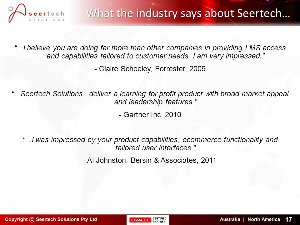 What the industry says about Seertech…