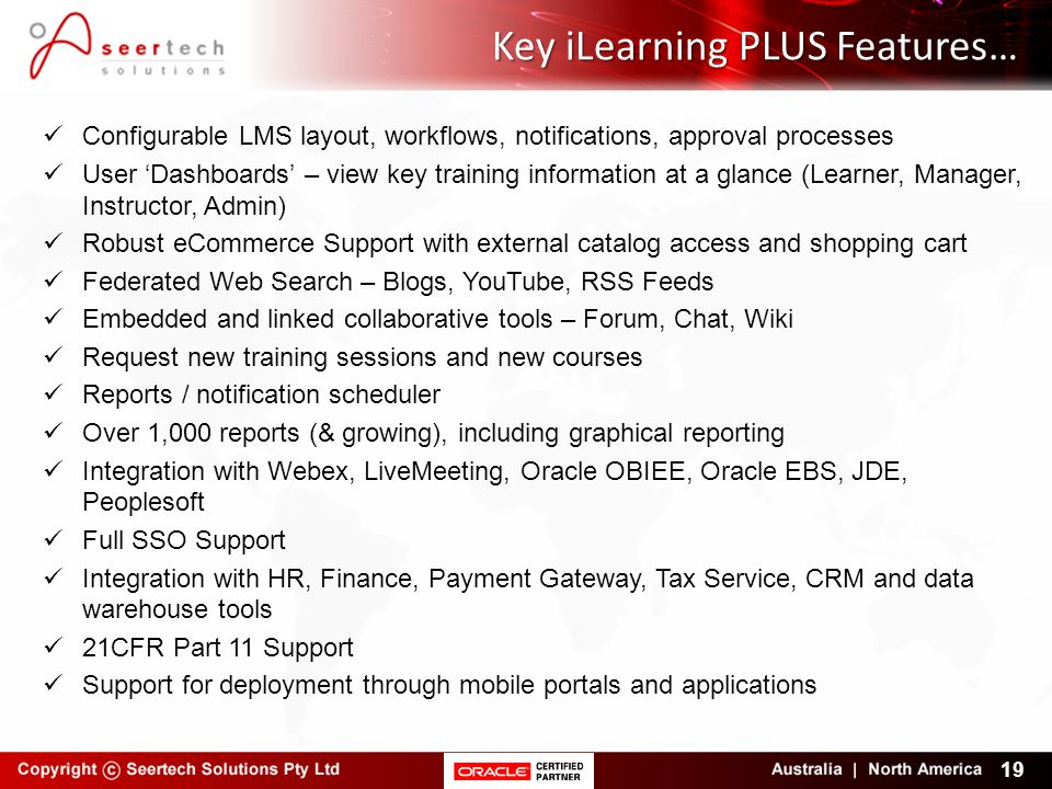 Key iLearning PLUS Features…