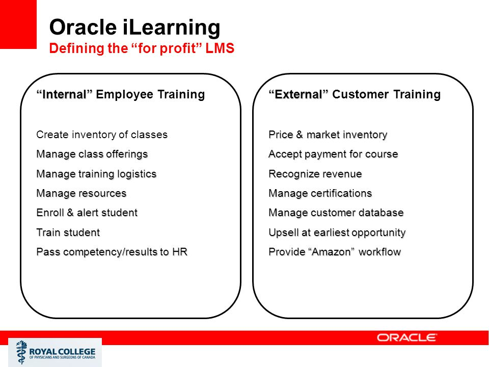 Oracle iLearning Defining the for profit LMS