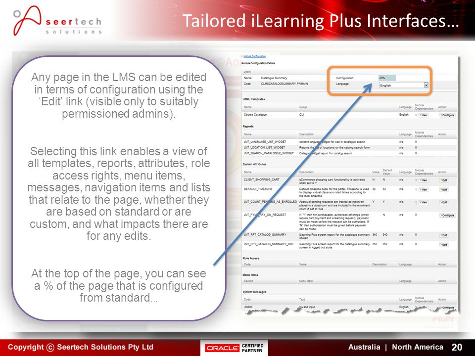 Tailored iLearning Plus Interfaces…