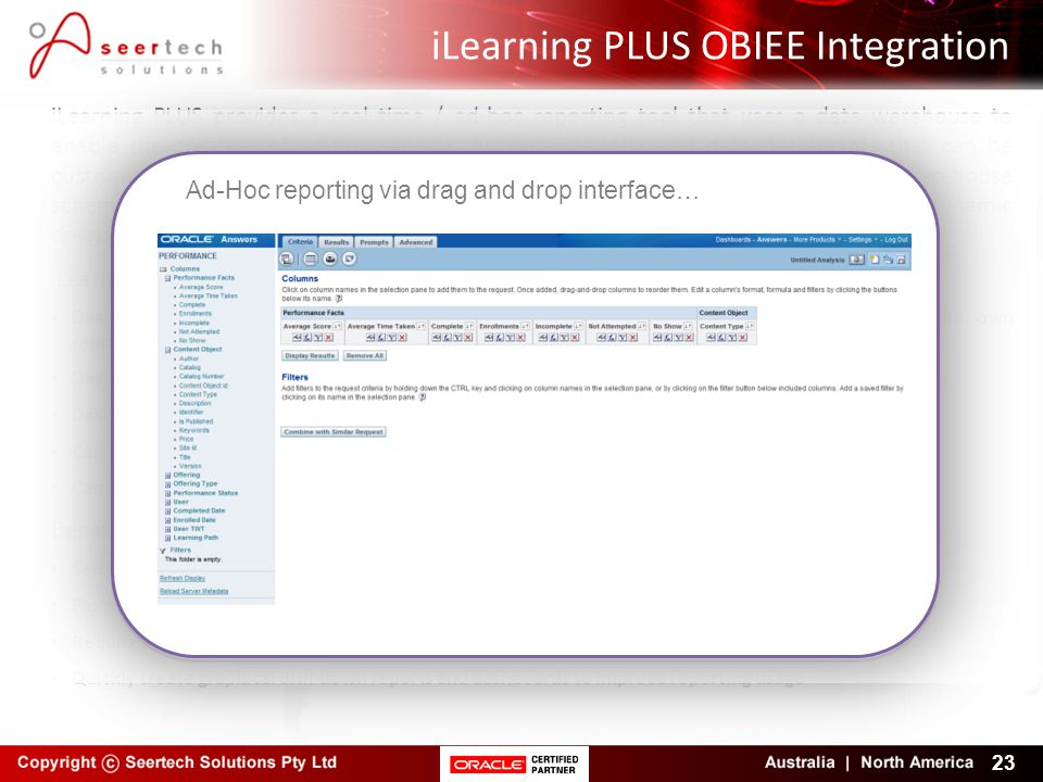iLearning PLUS OBIEE Integration