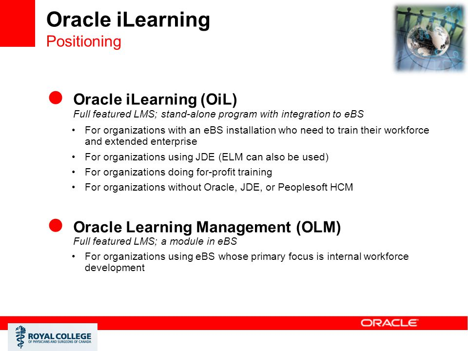 Oracle iLearning Positioning