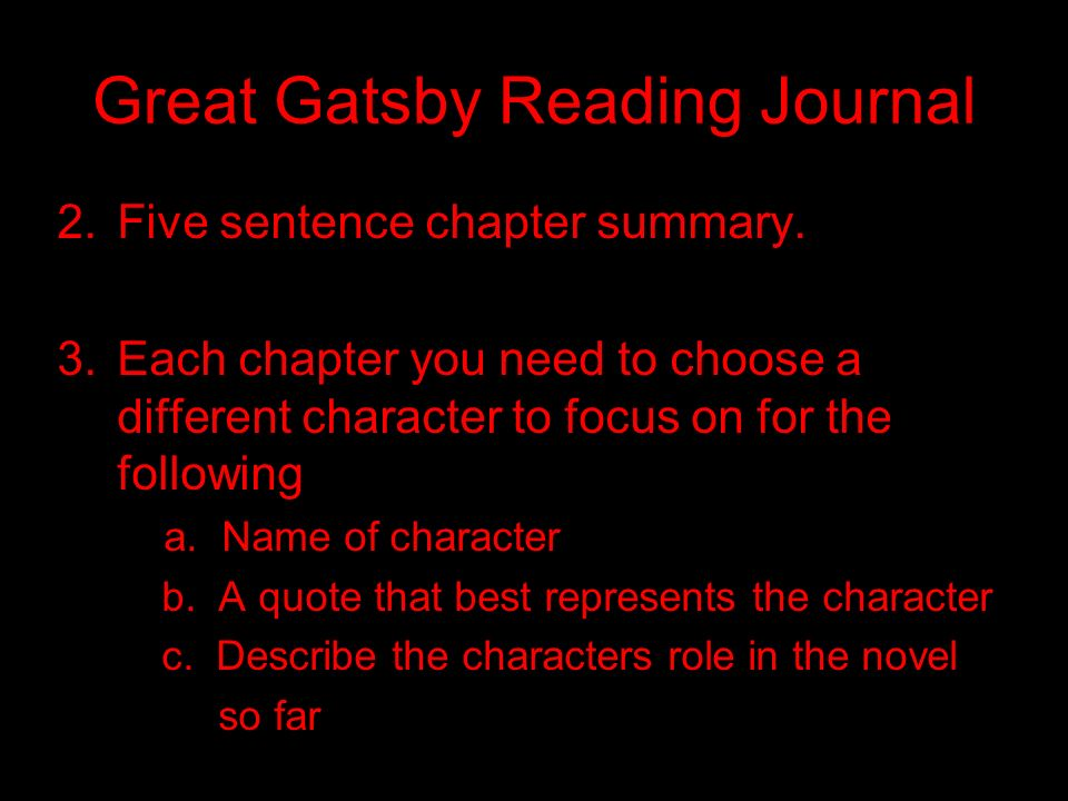 Great Gatsby Reading Journal