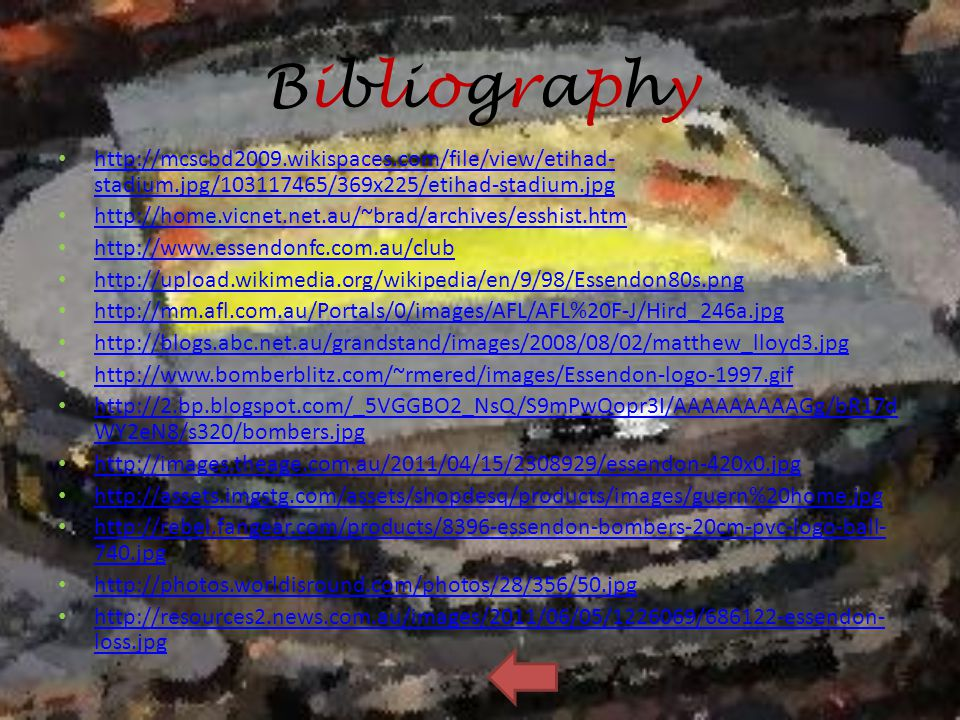 Bibliography http://mcscbd2009.wikispaces.com/file/view/etihad-stadium.jpg/103117465/369x225/etihad-stadium.jpg.