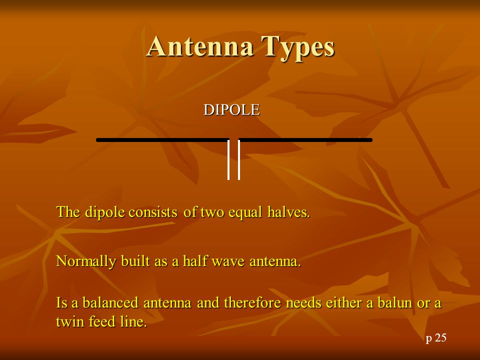 Antenna Types DIPOLE The dipole consists of two equal halves.