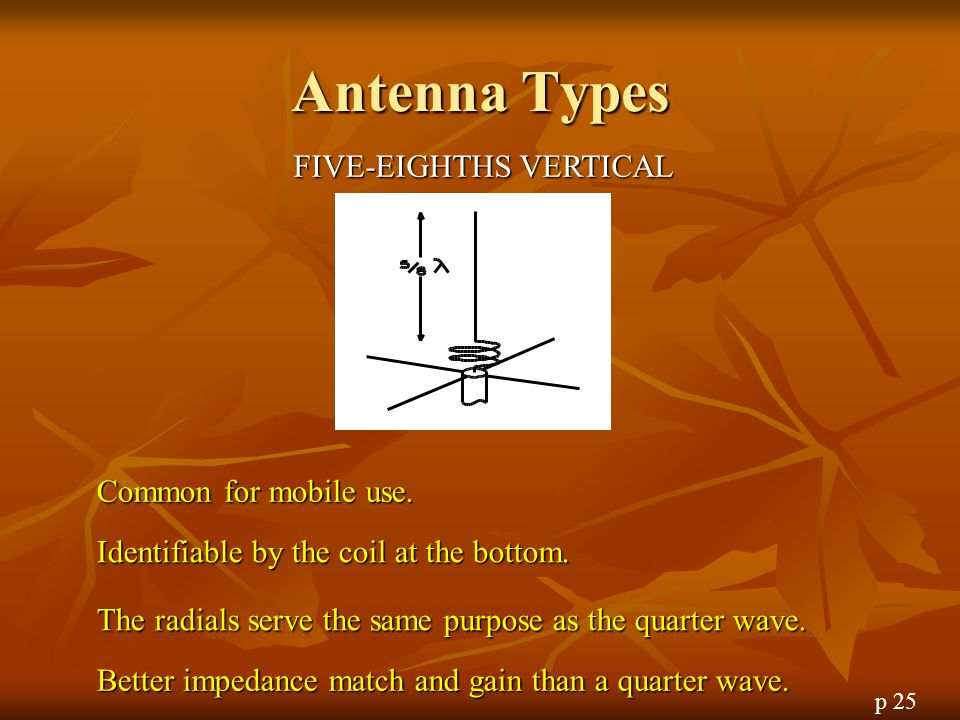 Antenna Types FIVE-EIGHTHS VERTICAL Common for mobile use.