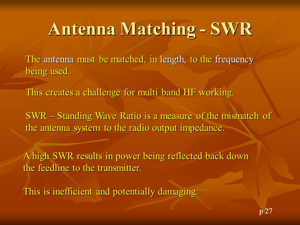 Antenna Matching - SWR The antenna must be matched, in length, to the frequency being used. This creates a challenge for multi band HF working.