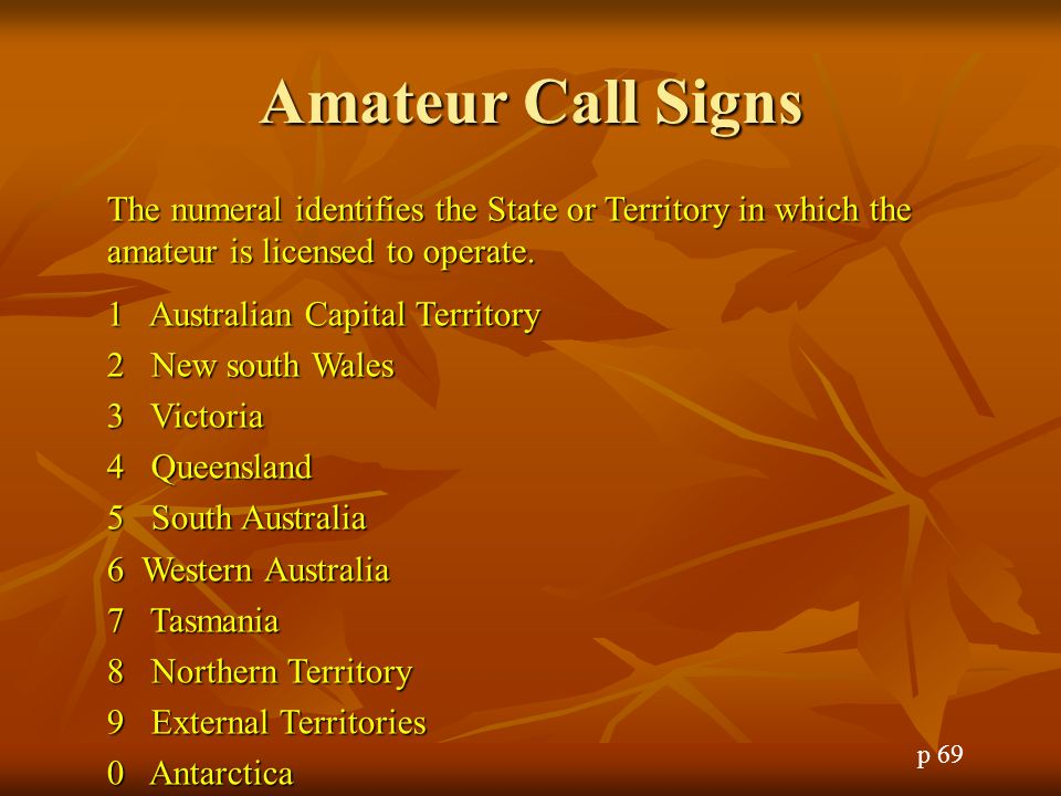 Amateur Call Signs The numeral identifies the State or Territory in which the amateur is licensed to operate.