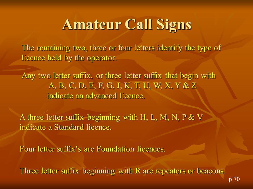 Amateur Call Signs The remaining two, three or four letters identify the type of licence held by the operator.