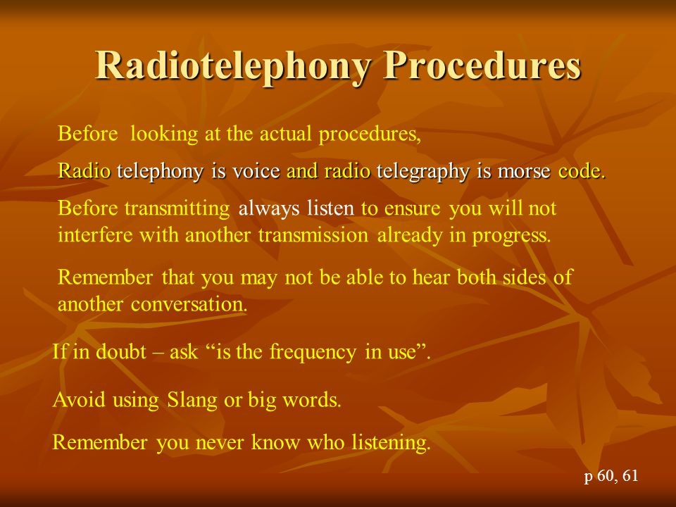 Radiotelephony Procedures