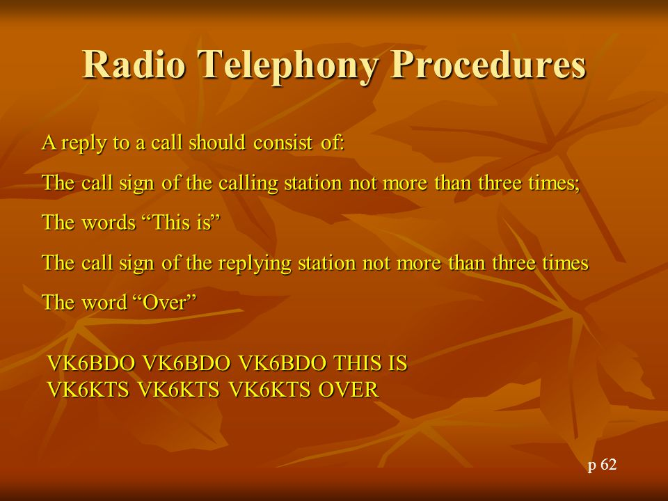 Radio Telephony Procedures