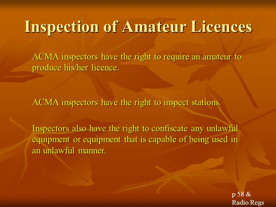 Inspection of Amateur Licences