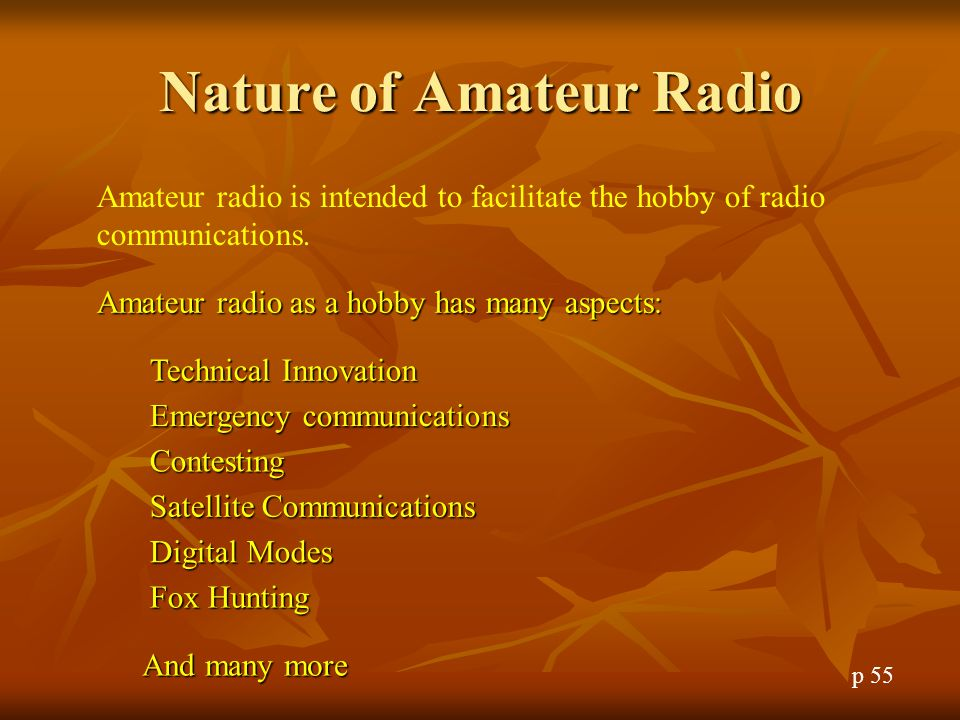 Nature of Amateur Radio