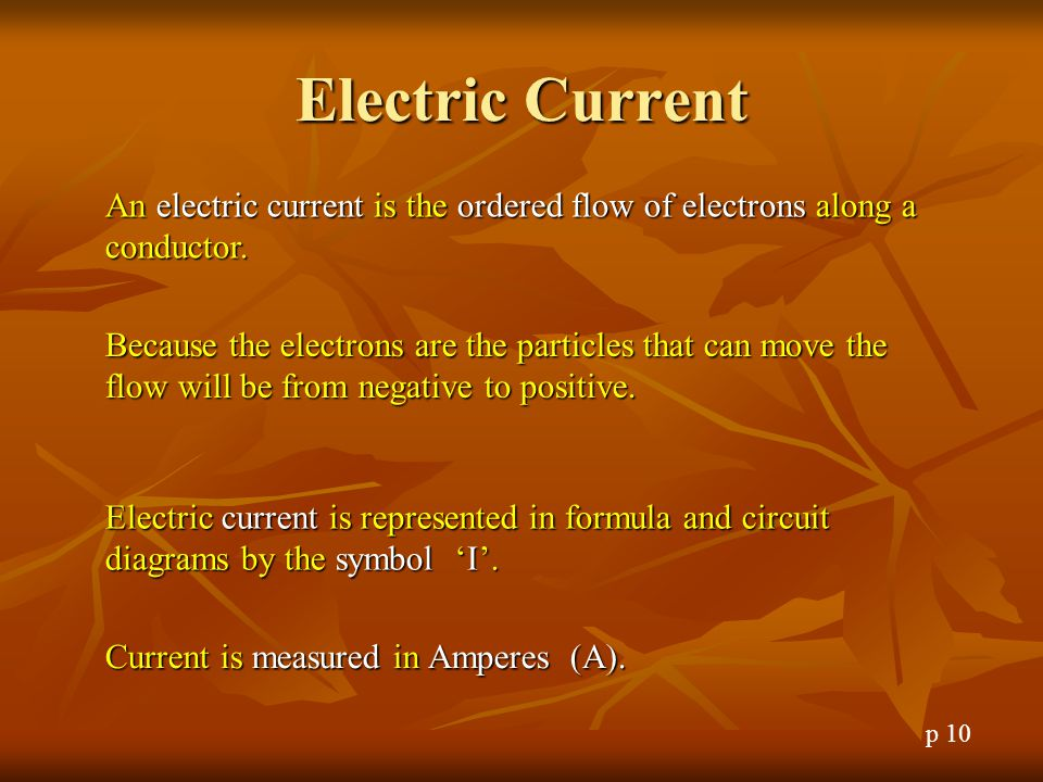 Electric Current An electric current is the ordered flow of electrons along a conductor.