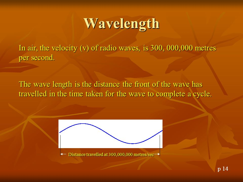 Wavelength In air, the velocity (v) of radio waves, is 300, 000,000 metres per second.
