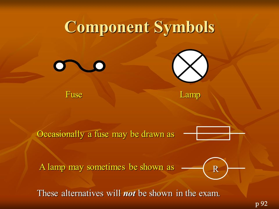 Component Symbols Fuse Lamp Occasionally a fuse may be drawn as