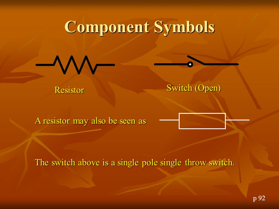 Component Symbols Switch (Open) Resistor