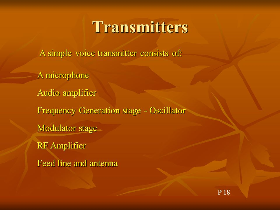 Transmitters A simple voice transmitter consists of: A microphone