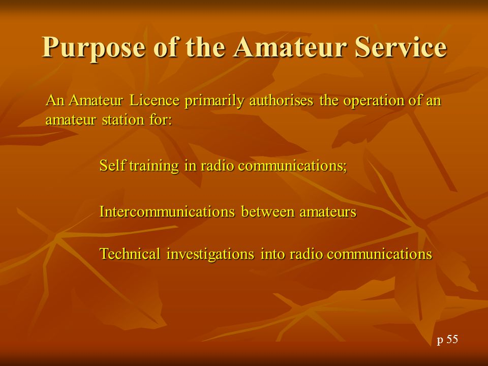 Purpose of the Amateur Service