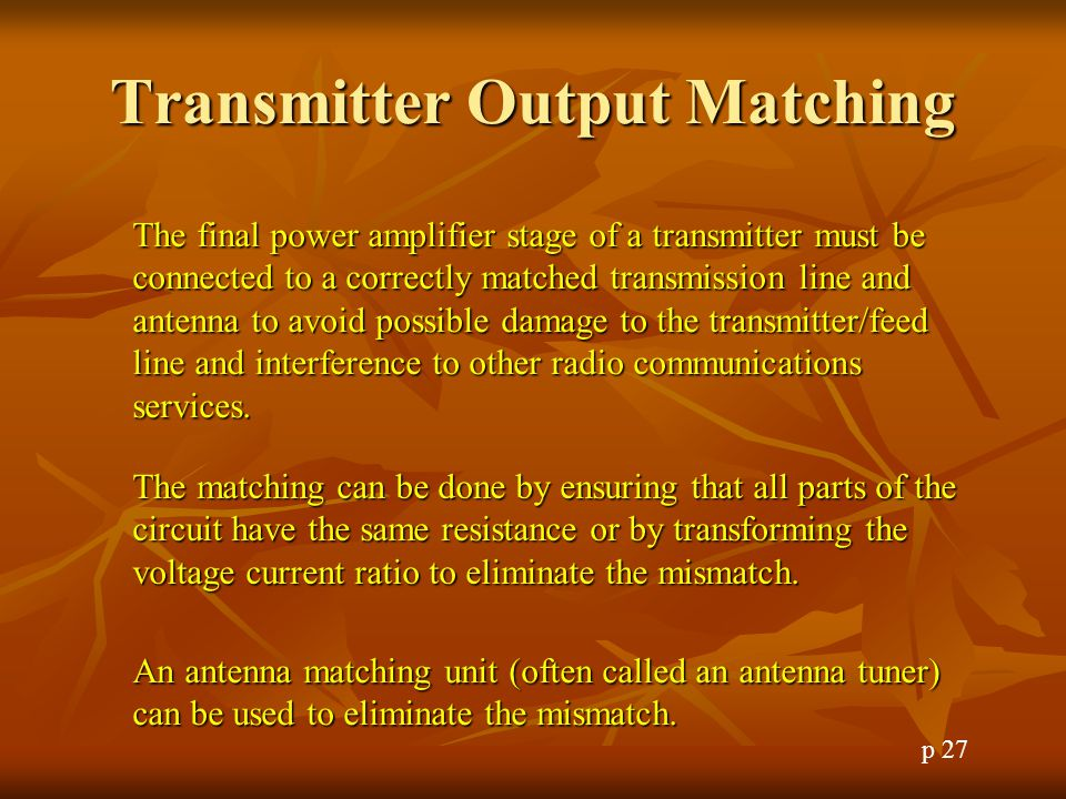 Transmitter Output Matching