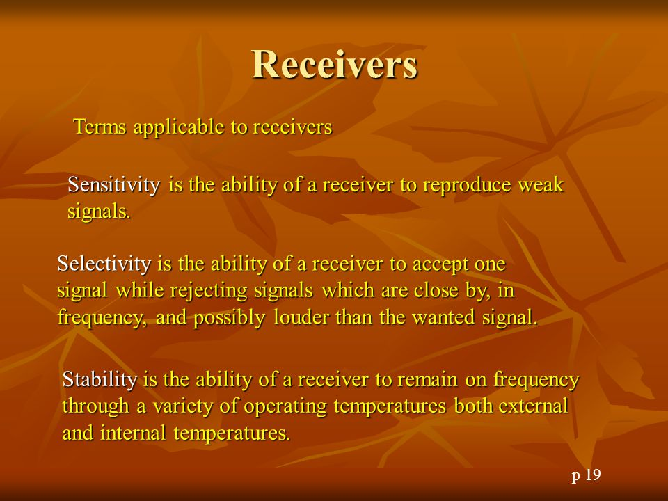 Receivers Terms applicable to receivers
