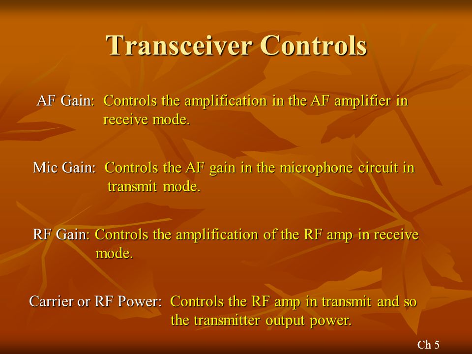 Transceiver Controls AF Gain: Controls the amplification in the AF amplifier in receive mode.