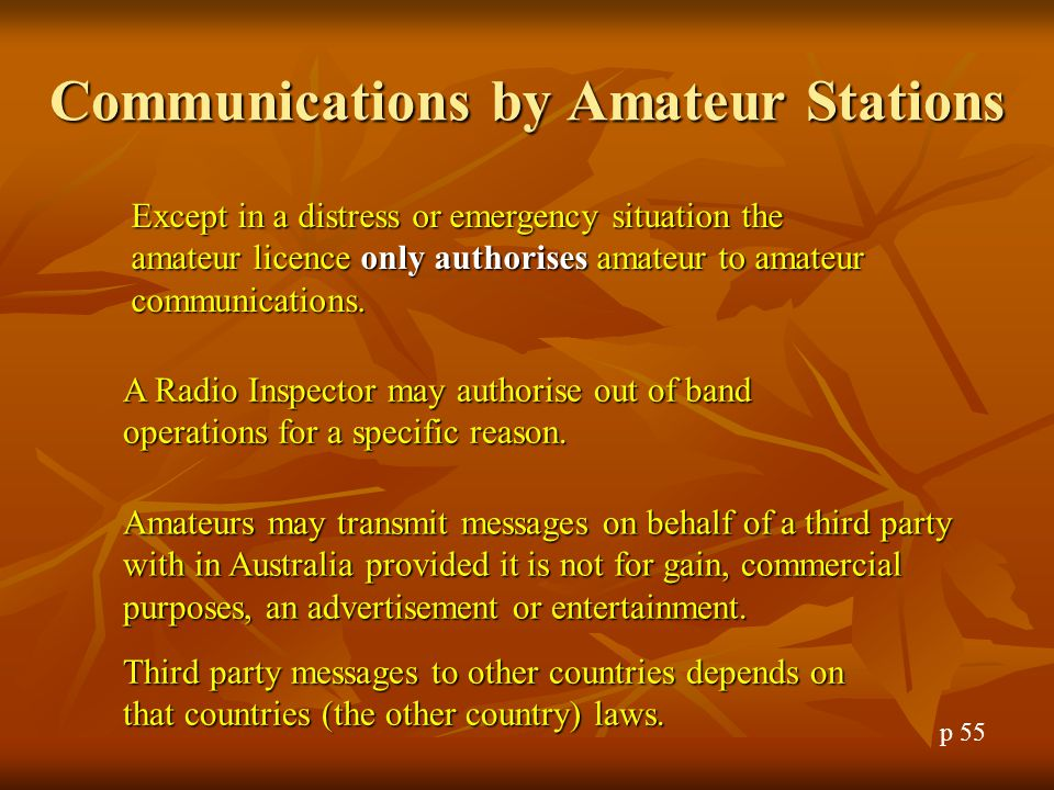 Communications by Amateur Stations