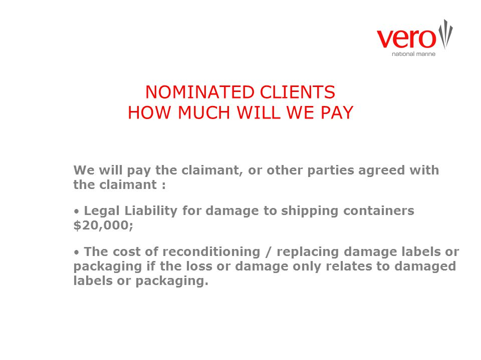 NOMINATED CLIENTS HOW MUCH WILL WE PAY