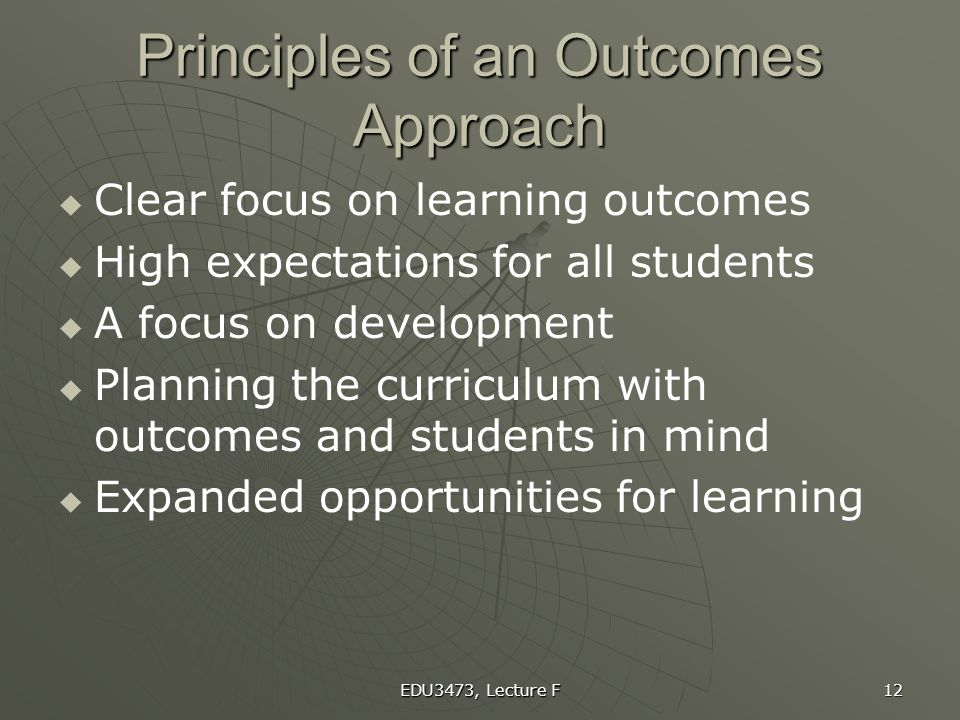 Principles of an Outcomes Approach