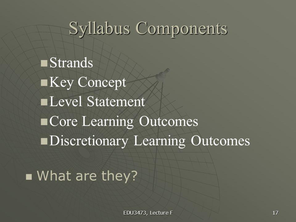Syllabus Components Strands Key Concept Level Statement