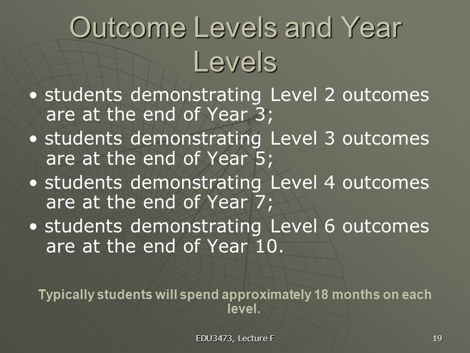 Outcome Levels and Year Levels