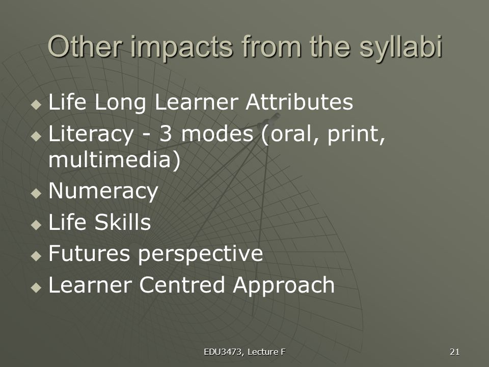 Other impacts from the syllabi