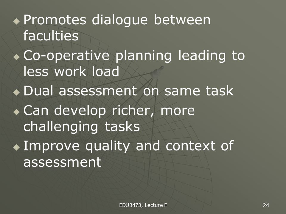 Promotes dialogue between faculties