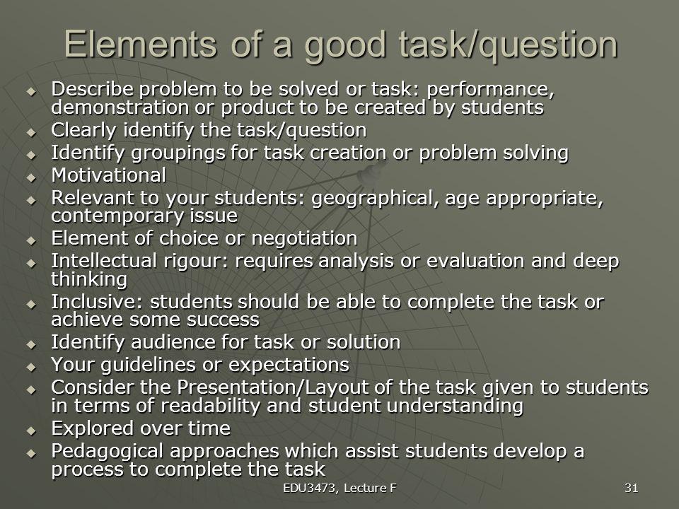Elements of a good task/question