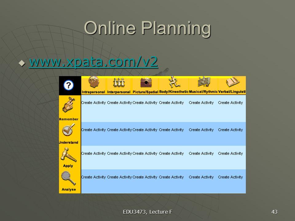 Online Planning www.xpata.com/v2 Plan sample unit EDU3473, Lecture F