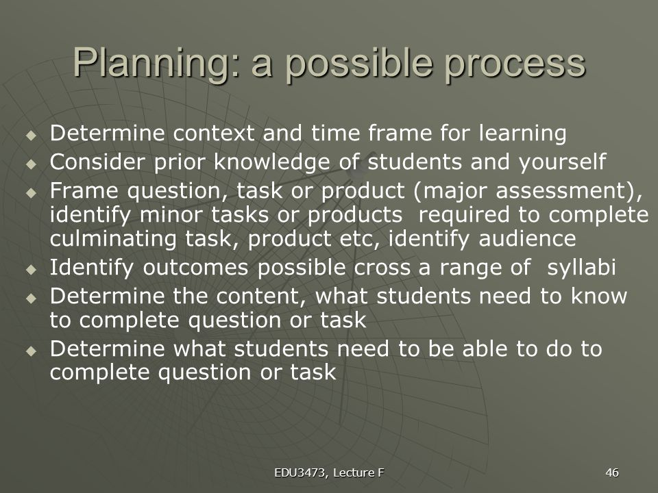 Planning: a possible process