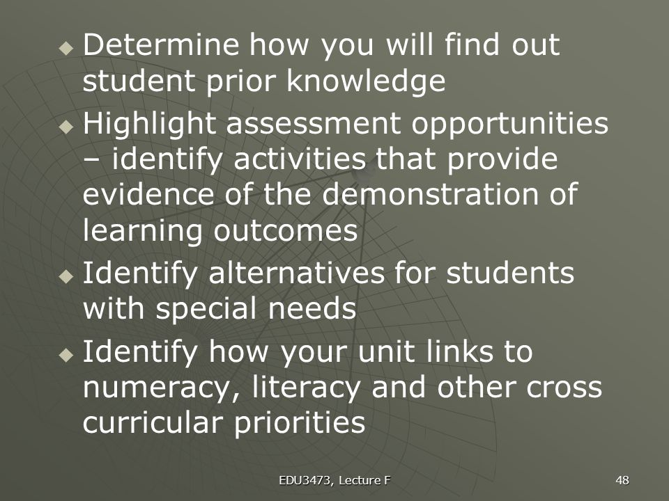 Determine how you will find out student prior knowledge