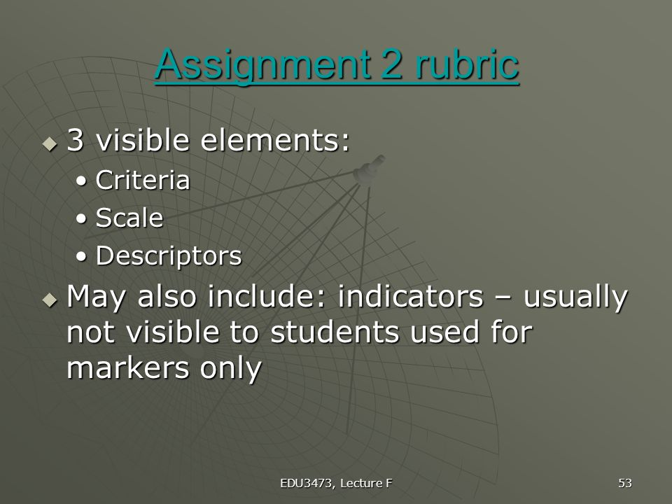 Assignment 2 rubric 3 visible elements: