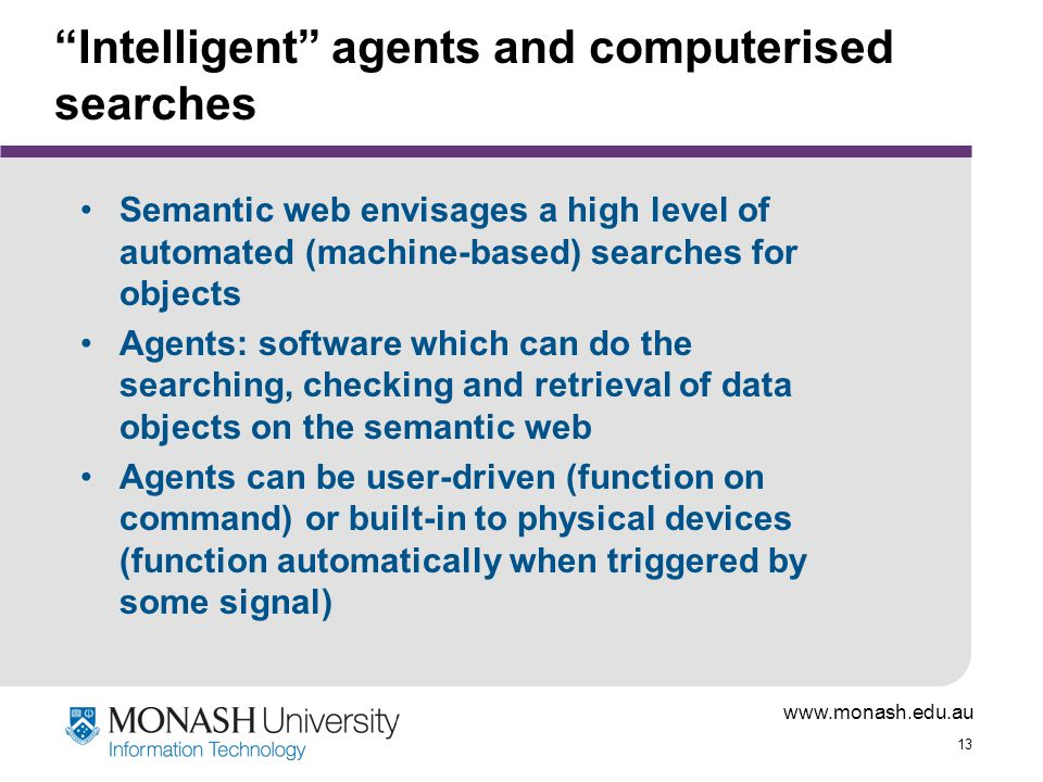 Intelligent agents and computerised searches