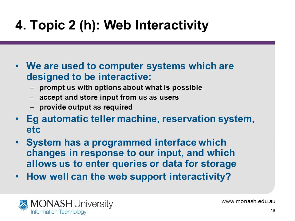 4. Topic 2 (h): Web Interactivity