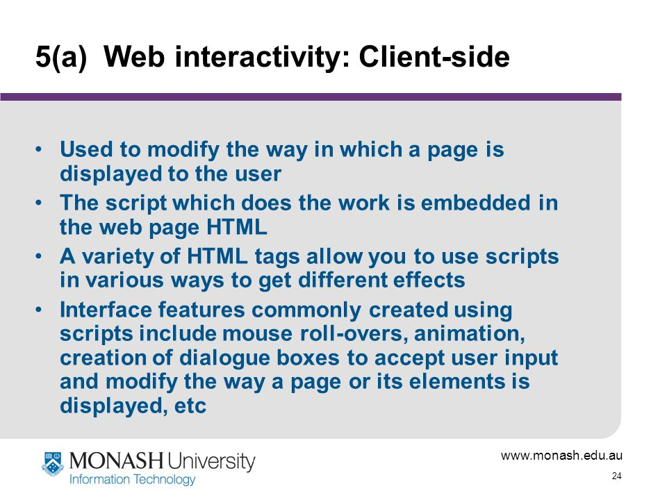 5(a) Web interactivity: Client-side
