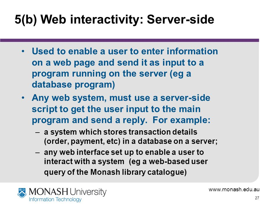 5(b) Web interactivity: Server-side