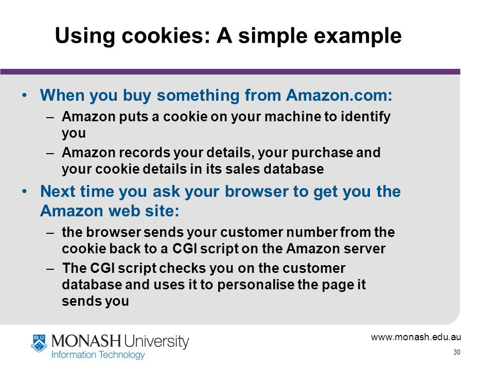 Using cookies: A simple example