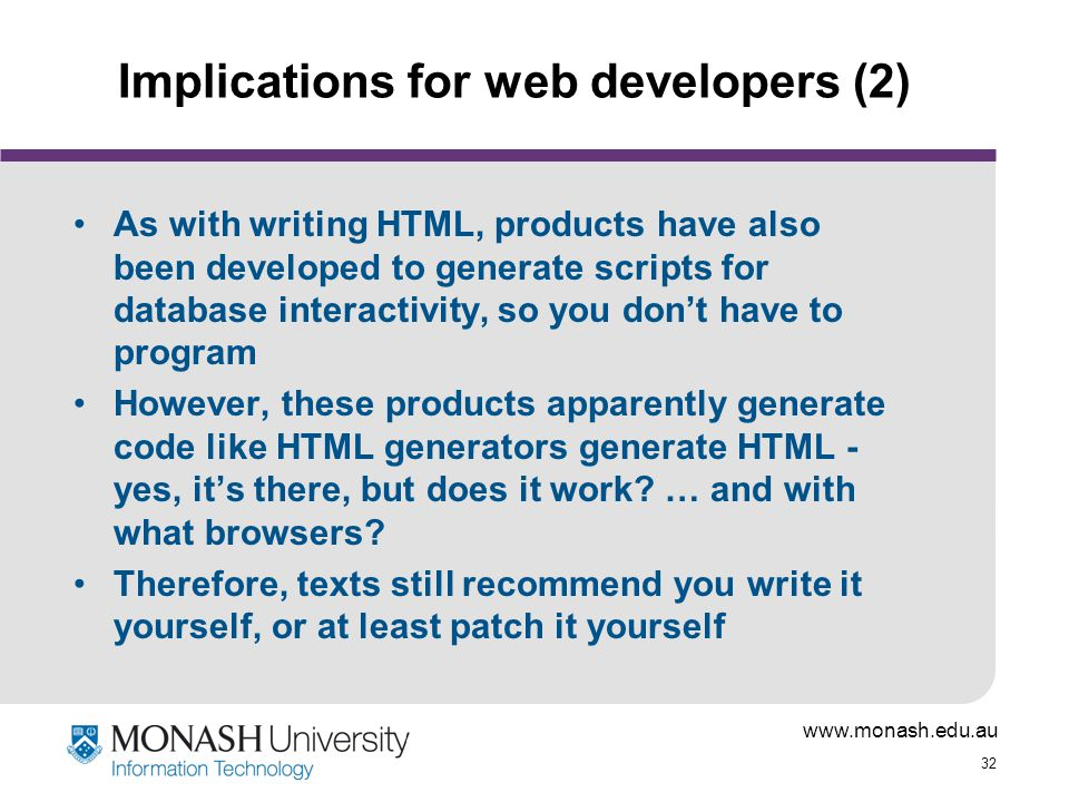 Implications for web developers (2)