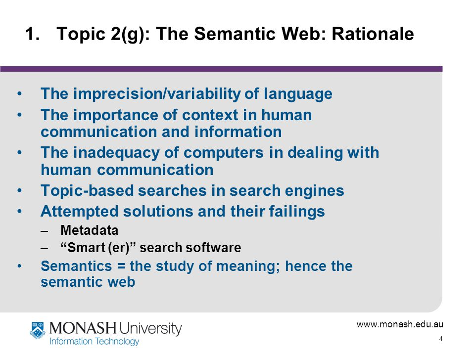 Topic 2(g): The Semantic Web: Rationale