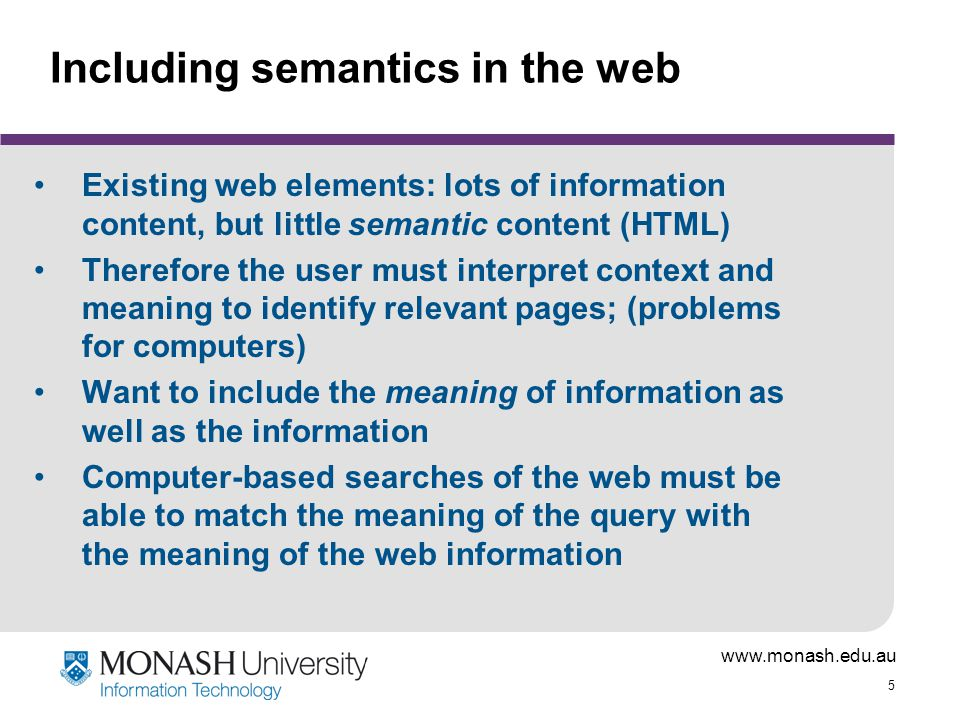 Including semantics in the web