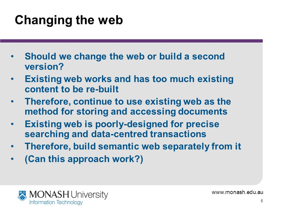 Changing the web Should we change the web or build a second version